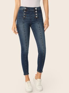 Double Breasted Button Front Mid Rise Skinny Jeans