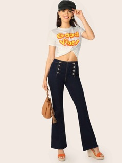 Double Breasted High Rise Sailor Boot Cut Jeans