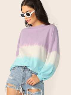 Crew Neck Tie Dye Pullover Sweatshirt