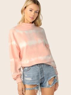 High Neck Tie Dye Oversized Pullover Sweatshirt