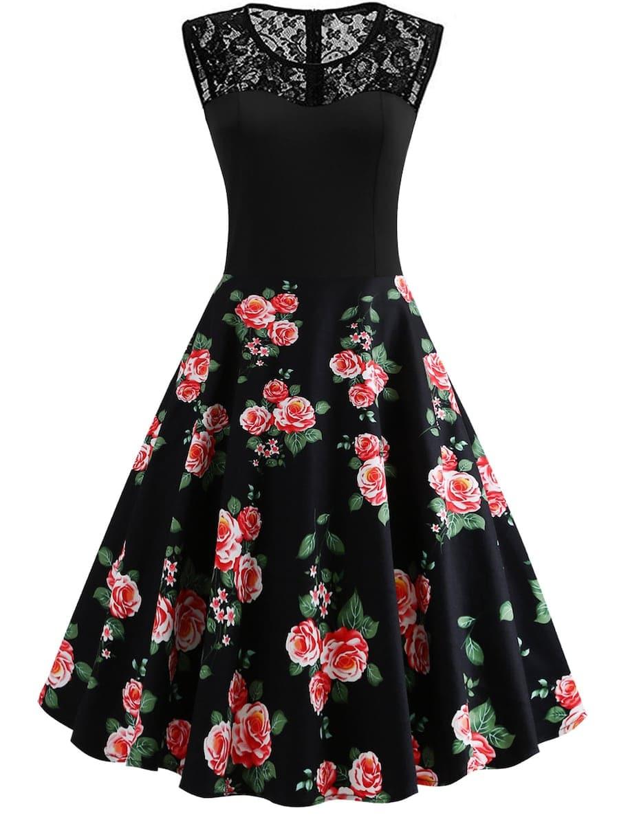 Платье размера плюс с цветочным принтом и кружевом