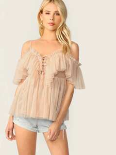 Ruffle Trim Tie Front Pleated Cami Mesh Top