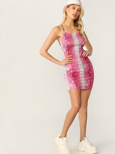 Crisscross Backless Snakeskin Halter Dress