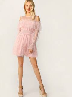 Colder Shoulder Bell Sleeve Lace Overlay Dress