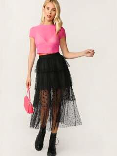 Swiss Dot Layered Mesh Skirt