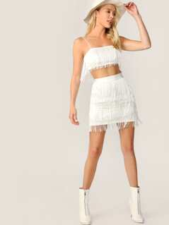 Fringe Detail Cami Top and Bodycon Skirt Set