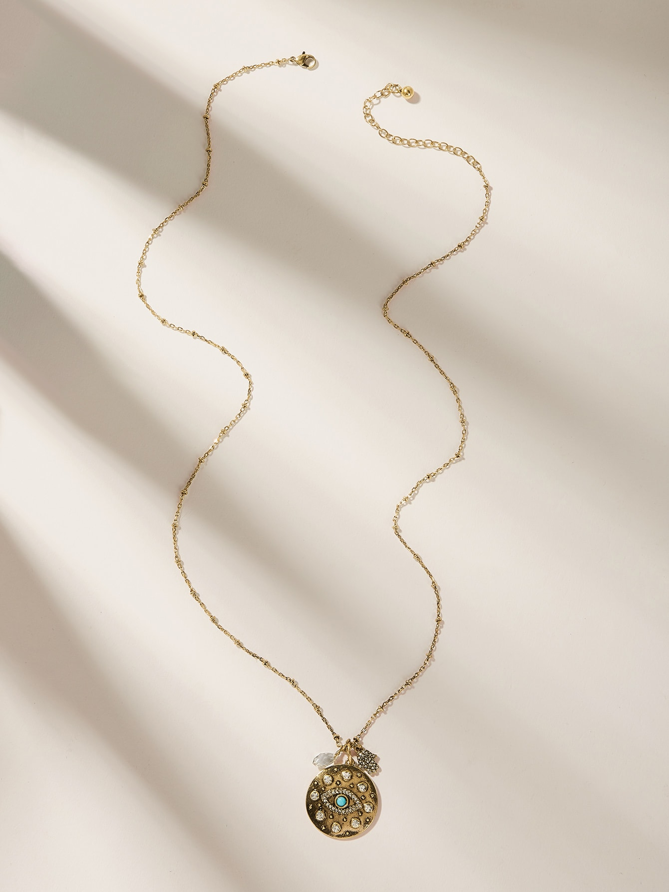 Фото - Ожерелье с гравированным диском и стразами 1шт. от SheIn цвет золотые