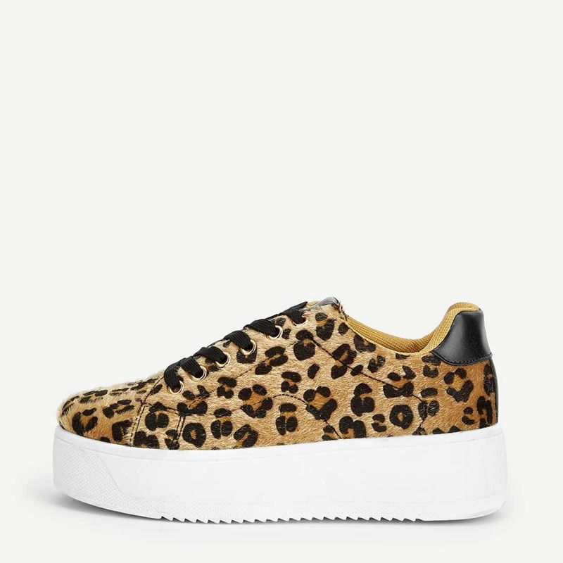 Leopard Pattern Lace-up Sneakers, Multicolor