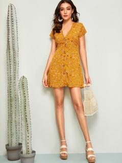 Ditsy Floral Print Button Front Tea Dress