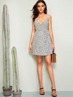 Confetti Print Surplice Neck Knotted Slip Dress