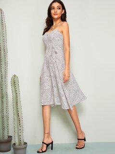Confetti Print Slit Hem Belted Slip Dress