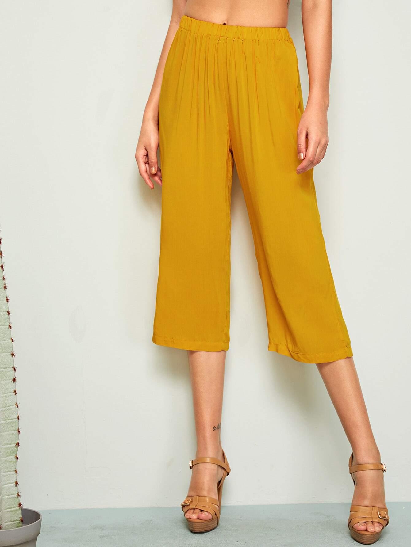 Фото - Однотонные прямые брюки от SheIn желтого цвета