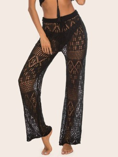 Crochet Sheer Straight Leg Pants Without Panties