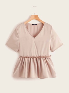 Frill Trim Peplum Satin Top