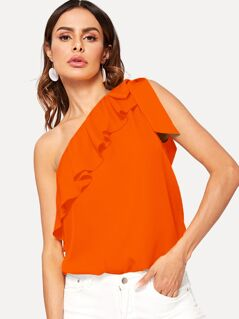 Neon Orange Tie Shoulder Foldover Front Top