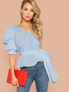 One Shoulder Gathered Sleeve Belted Top