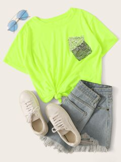 Neon Lime Sequin Patched Tee