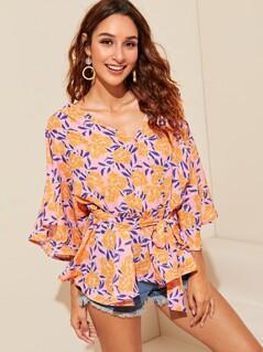 Flounce Sleeve Asymmetrical Hem Floral Top