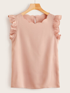 Ruffle Armhole Scalloped Trim Top