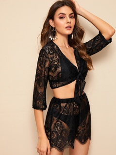 Knotted Front Lace Top & Shorts Set Without Panties