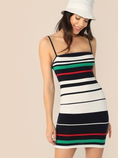 Color-block Striped Bodycon Slip Dress