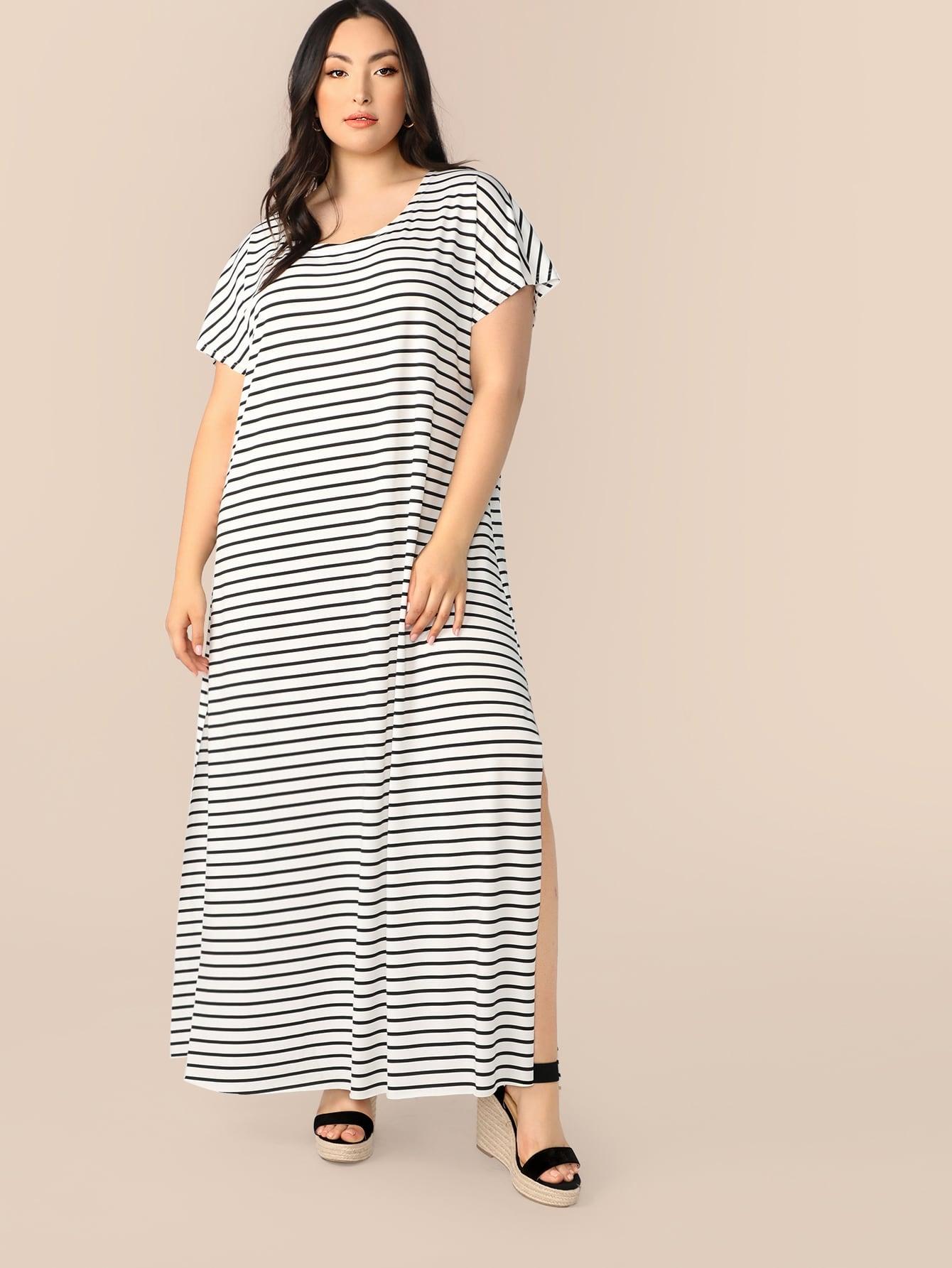 Фото - Полосатое платье размера плюс с разрезом от SheIn цвет чёрнобелые