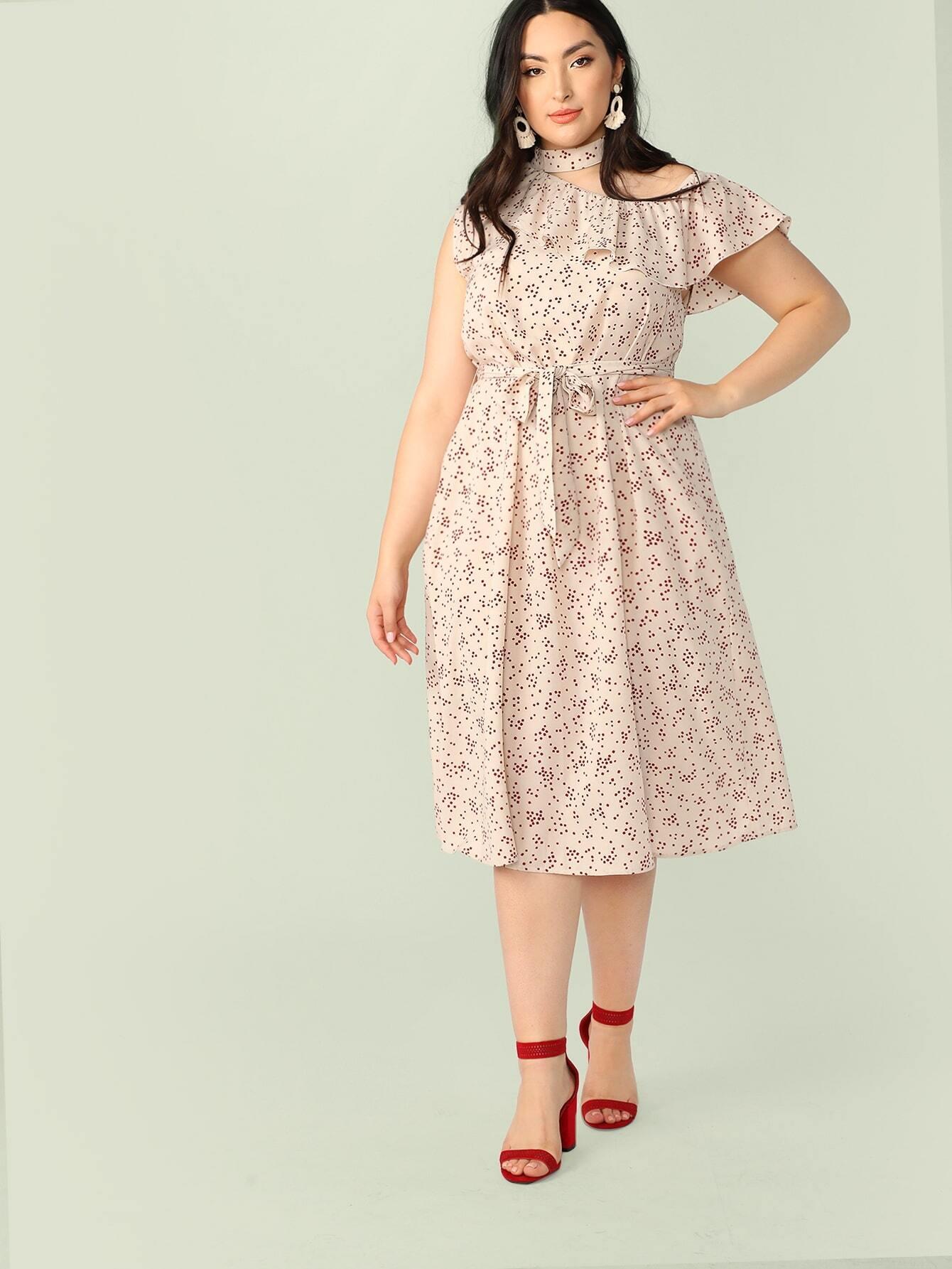 Фото - Платье размера плюс с воротником-чокером и поясом от SheIn цвет многихцветные