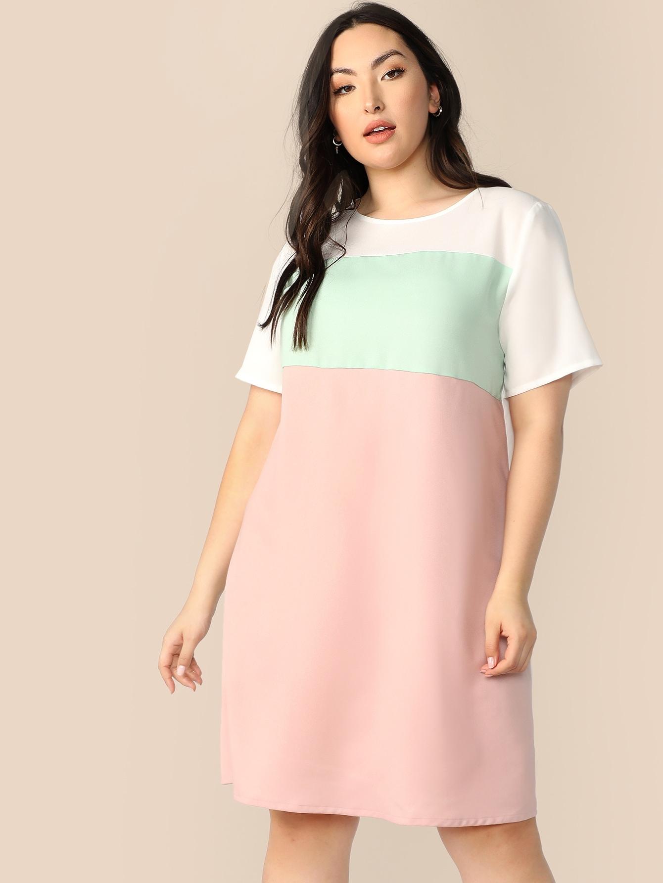 Фото - Контрастное платье размера плюс с застежкой от SheIn цвет многихцветные