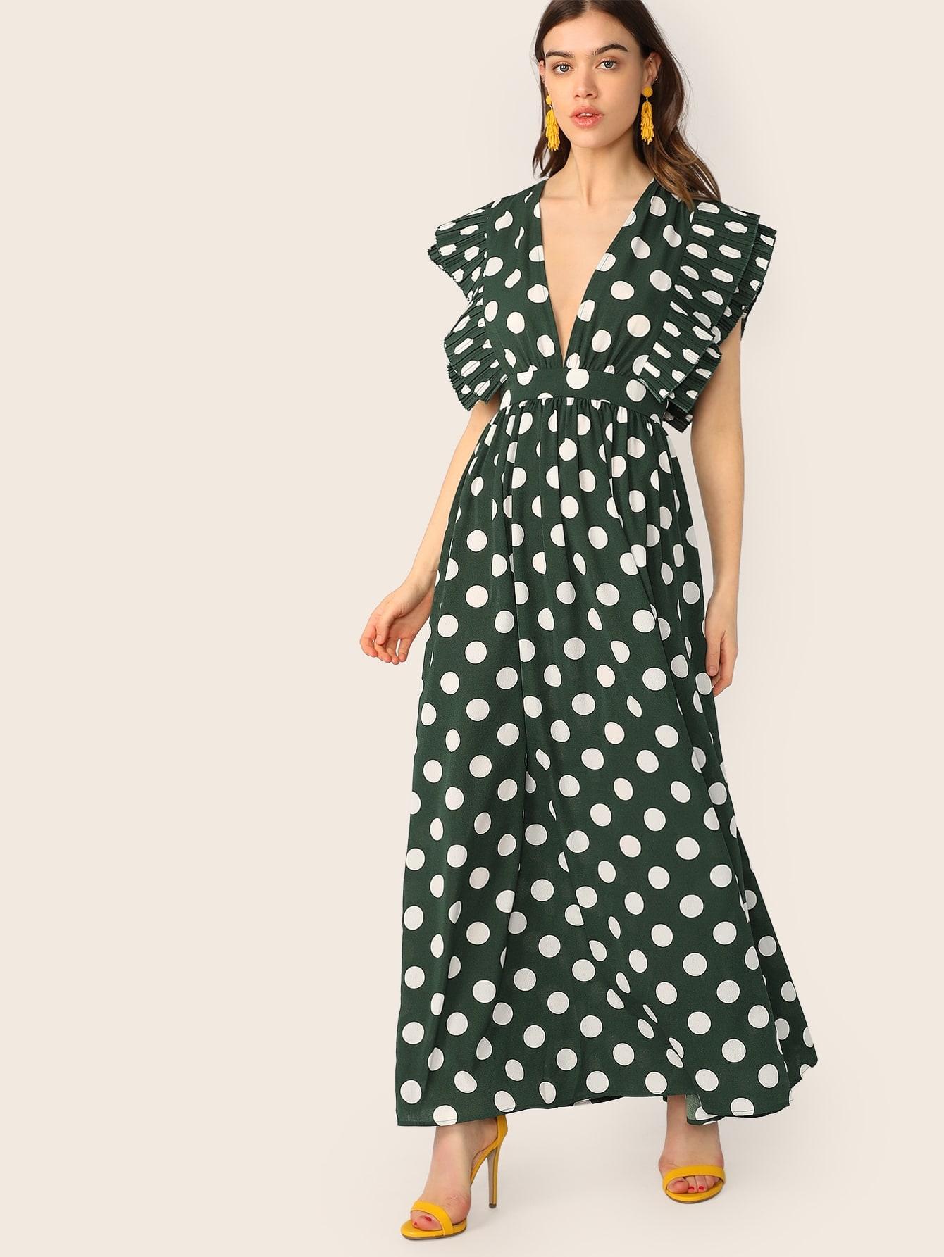 Фото - Платье в горошек со складкой от SheIn цвет зелёные