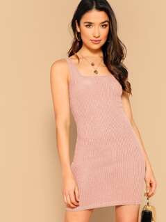 Rib-knit Bodycon Tank Dress