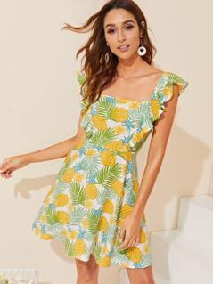 Ruffle Trim Tropical Print Dress