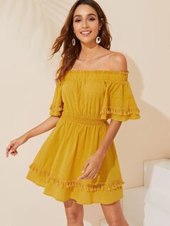 Tassel Detail Elastic Waist Bardot Dress