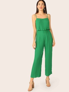 Solid Foldover Bodice Pleated Cami Jumpsuit