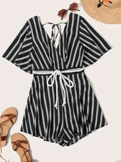 Cutout Tie Back Wrap Romper With Rope