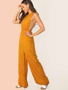 Plunging Neck Tie Backless Palazzo Halter Jumpsuit