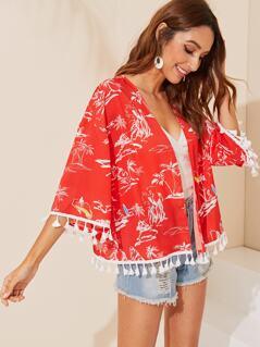 Tassel Hem Tropical Print Kimono