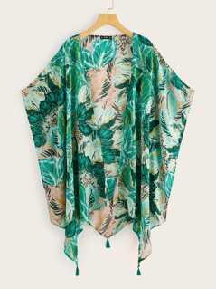 Plus Jungle Leaf Print Tassel Hem Kimono