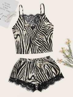 Eyelash Lace Insert Zebra Cami Top and Shorts PJ Set