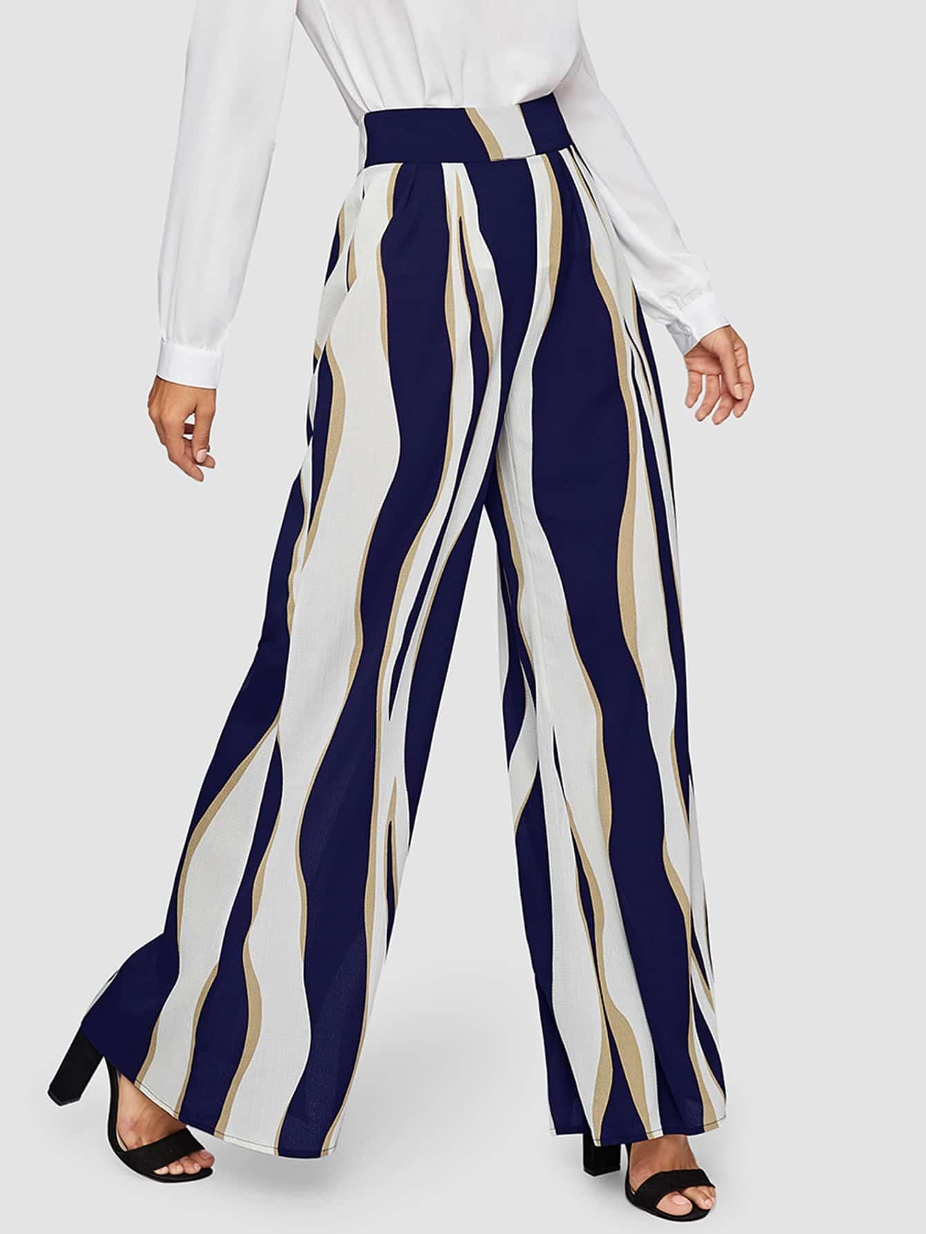 Контрастные широкие брюки с молнией SheIn
