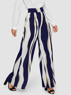 Zip Back Colorblock Wide Leg Pants