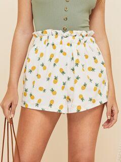 Ruffle Waist Pineapple Print Shorts