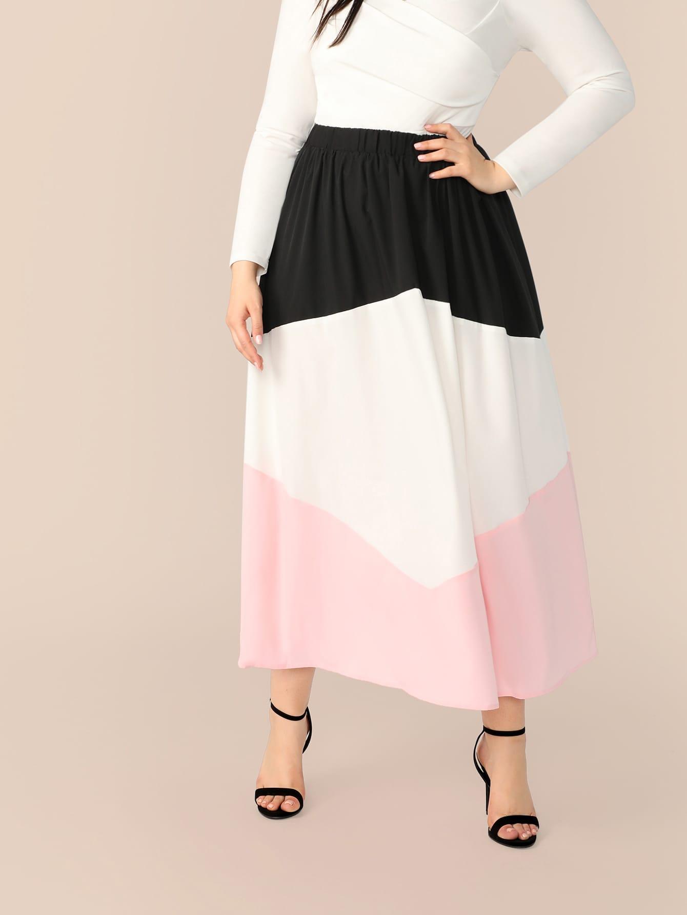 Фото - Контрастная юбка с эластичной талией размера плюс от SheIn цвет многихцветные