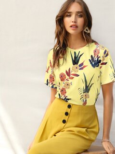 Floral & Dragonfly Print Top