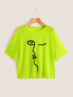 Neon Lime Graphic Print T-shirt