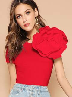Exaggerate Flower Shoulder Fitted Tee
