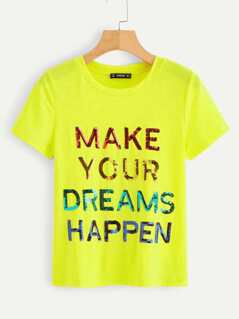 Neon Yellow Colorful Sequin Slogan Front Tee