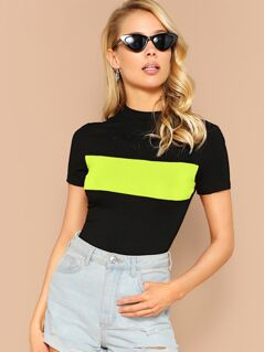 Neon Panel Mock-Neck Form Fitted Top