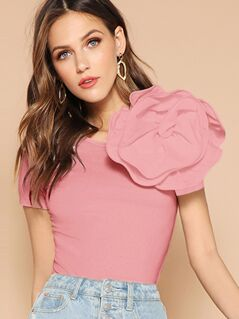 Solid Exaggerated Applique Form Fitting Tee
