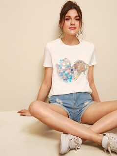 Fish With Sequin Detail Tee