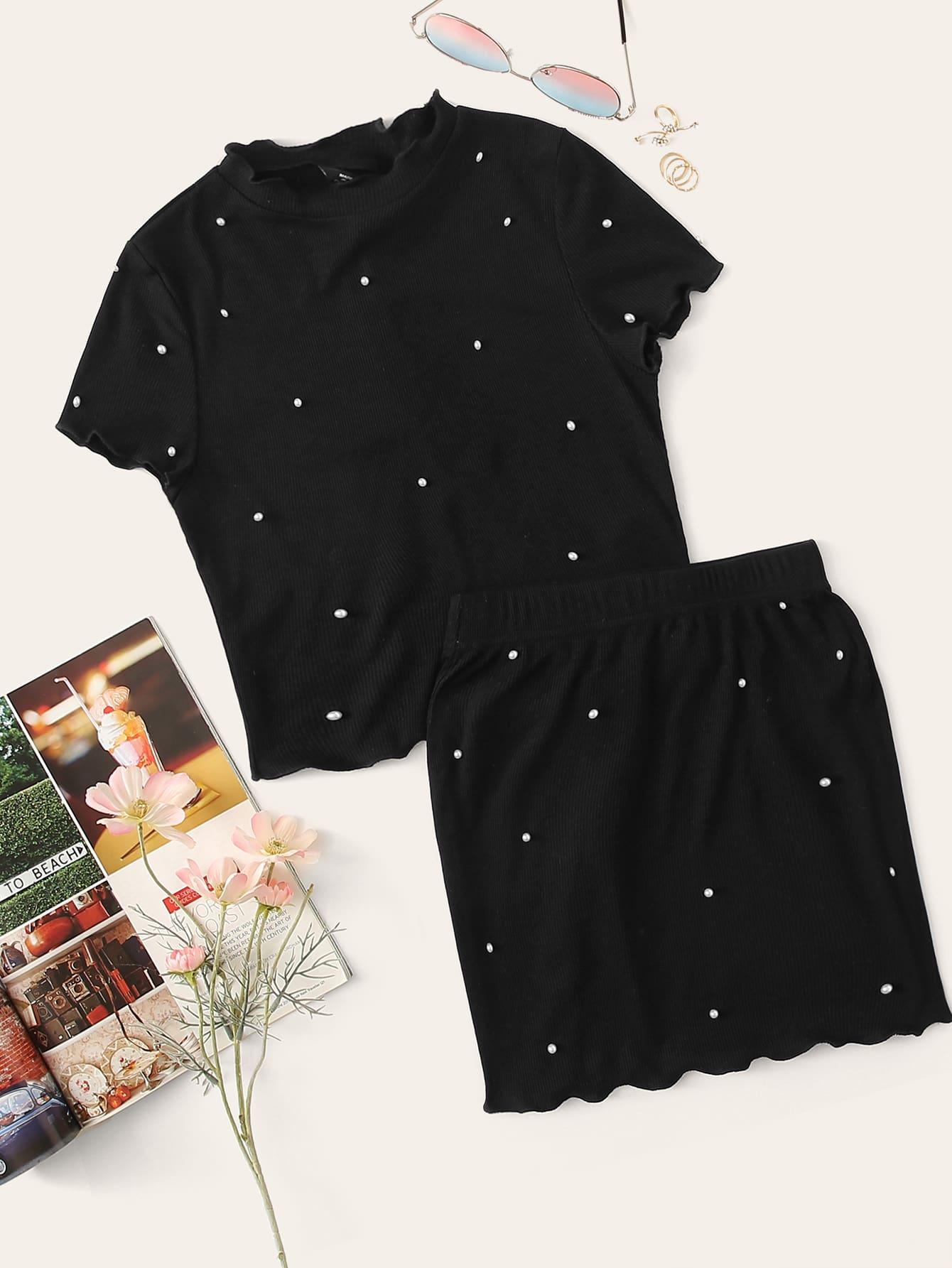 Фото - Топ и юбка с оригинальной отделкой и жемчугами от SheIn черного цвета